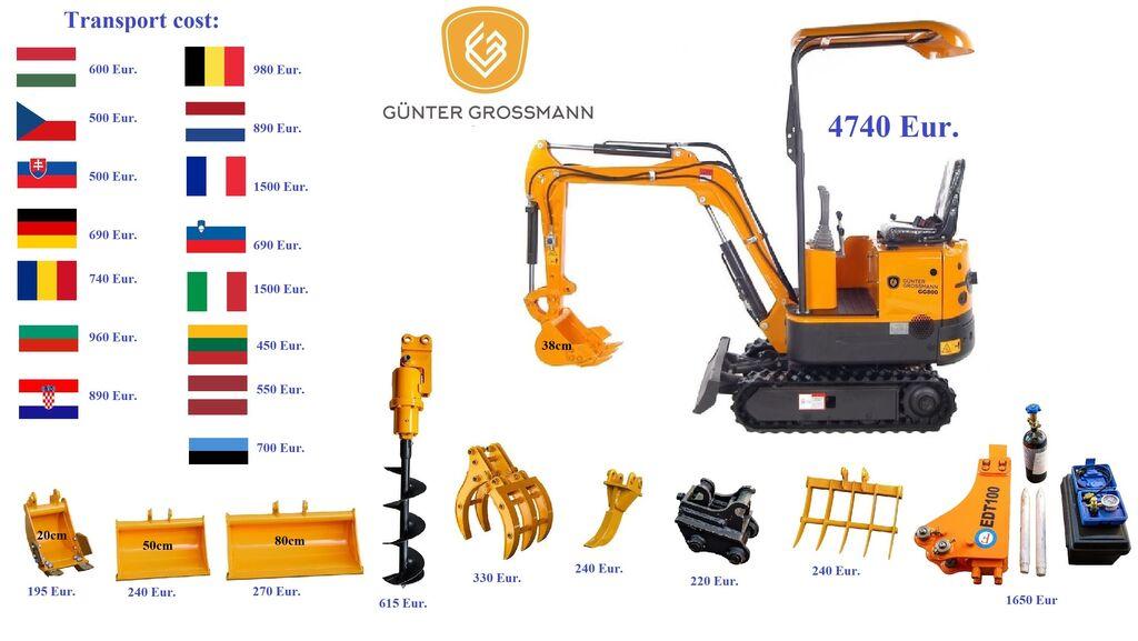 ny Günter Grossmann Mini Koparka + Wszystkie Akcesoria - Minikoparka minigrävare