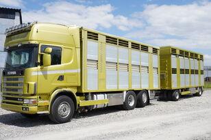SCANIA R164 V8, 6x2, 2 hydraulic decks, 70m2 , live stock  hästlastbil + djurtransport trailer